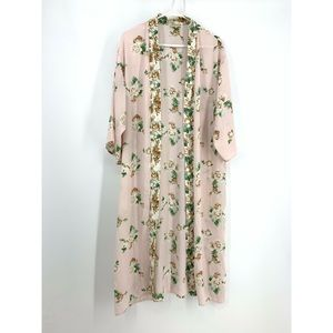 Lily White Pink Floral Open Front Long Cardigan L